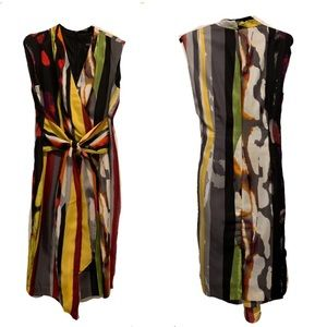 Ellen Tracy Geo Safari Faux Wrap Stripe Dress